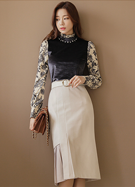 Velvet Blouse with Floral Print Chiffon Sleeves, Styleonme