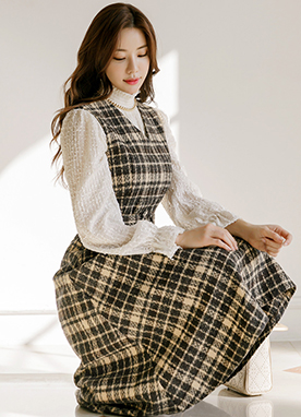 Belted Pinafore Check Dress, Styleonme