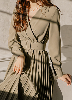 Shirt Wrap Style Belted Dress, Styleonme