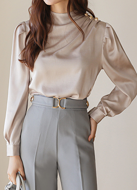 Gold Shoulder Button Pintuck Shirring Blouse, Styleonme