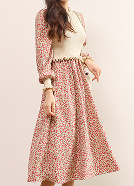 Floral Print Maxi Dress with Chiffon and Knit Combined Texture, Styleonme
