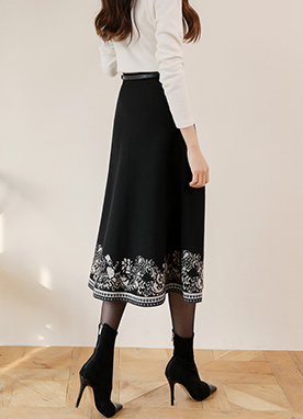 Ethnic Print Flare Maxi Knit Skirt, Styleonme