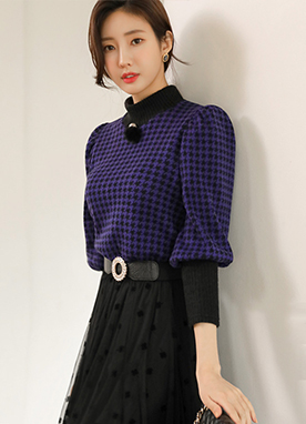 Puff Sleeve Hound Check Mock Neck Knit Top, Styleonme