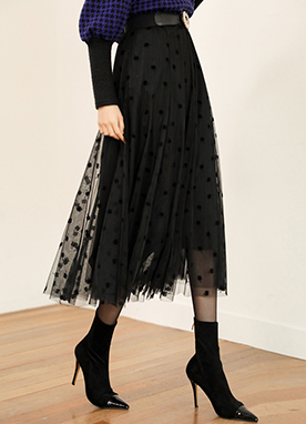 Romantic Polka Dot Flare Lace Maxi Skirt, Styleonme