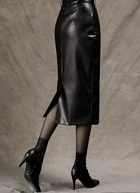 Shiny Belted Leather Midi Pencil Skirt, Styleonme