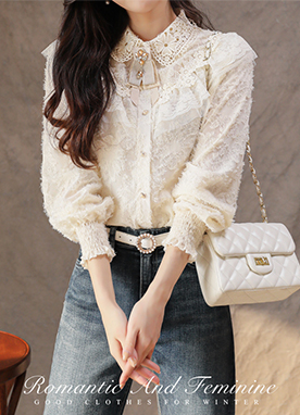 Frill design Brushed Lace Shirt, Styleonme