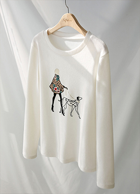 Walk a Dog Graphic Printed Top, Styleonme