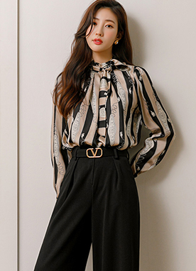 Pendant Chain Stripe Silky Blouse, Styleonme