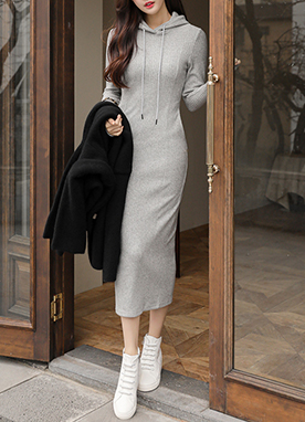 Close fit Ribbed Hooded Long Dress, Styleonme