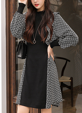 Romantic Knit and Chiffon Dress, Styleonme