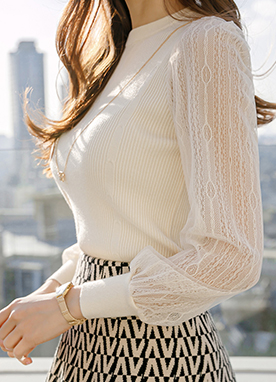 Delian Necklace Layered Knit Top with Sheer Sleeves, Styleonme