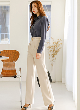 Formal Belted Pintuck Slacks, Styleonme