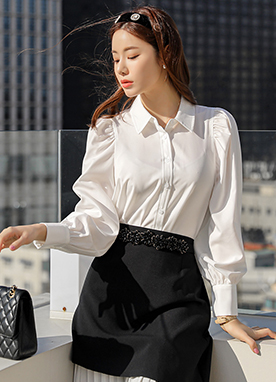 Elegant Balloon Sleeves Shirt, Styleonme