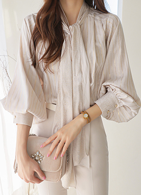 Bow Tie Blouse with Subtle Gold Stripes, Styleonme