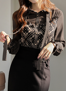 Black Pattern Mix Bow Tie Shirt, Styleonme