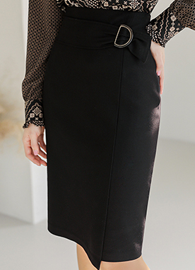 D Buckle Feminine Midi Pencil Skirt, Styleonme
