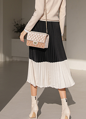 Color Block Pleated Midi Skirt, Styleonme