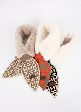 Soft Mink and H Printed Knit Muffler, Styleonme