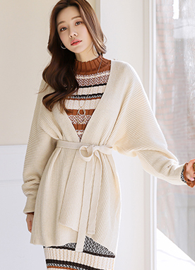 Belted Long Cocoon Cardigan, Styleonme