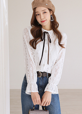 Ribbon set V-Shaped Lace Frill Blouse, Styleonme