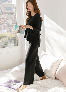 Side Slit Knit Top and Wide fit Knit Pants Set, Styleonme