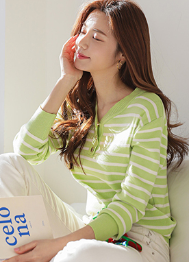 Soft Color Daily Stripe Knit Top, Styleonme