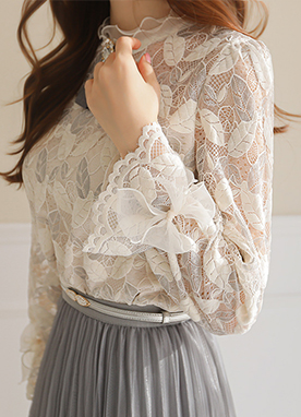 Leaf Pearl Lace and Velvet Blouse, Styleonme