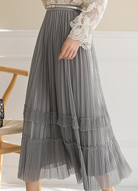Lace Story Pleated Maxi Skirt, Styleonme