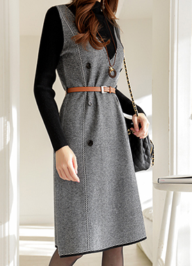 Layered Effect Belted Knit Dress, Styleonme