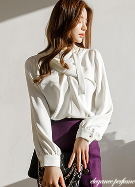 Elegant Mood Cross Dimensional Blouse with Brooch, Styleonme