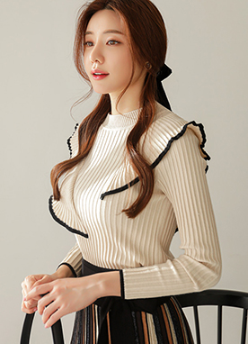 Unbalanced Knit Frill Ribbed Jumper, Styleonme