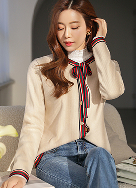Lady Tipped Short Cardigan with Ribbon Brooch, Styleonme