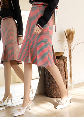 Check Pencil Skirt with Pleated Hem, Styleonme