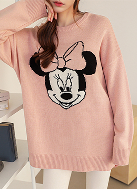 Lovely Minnie Mouse Oversized Crew Neck Jumper, Styleonme