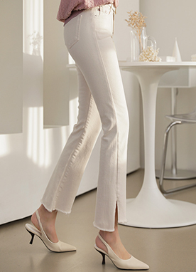 Low Rise Side Slit Cotton Bootcut Pants, Styleonme