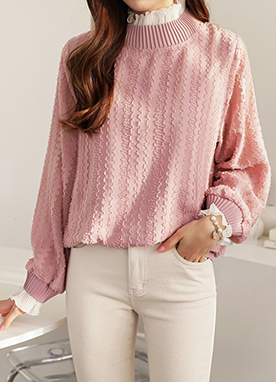 Sheer Lace Collar Jacquard Sweatshirt, Styleonme
