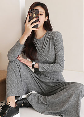 Long Sleeve Cross Waist Comfy Jumpsuit, Styleonme