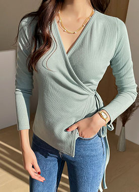 Ribbed V-neck Knit Wrap Top, Styleonme