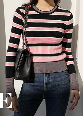 Stripe Round Neck Ribbed Jumper , Styleonme