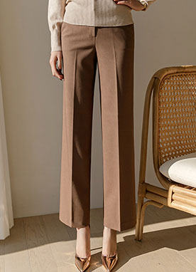 Smooth Semi Wide fit Straight Slacks, Styleonme