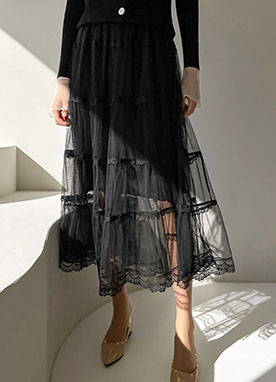 Romantic Moment Maxi Lace Flare Skirt, Styleonme