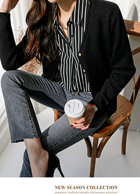 Basic V-neck Wool Cardigan, Styleonme