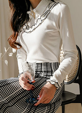 Front Frill Knit Shirt, Styleonme