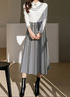 Herringbone Check Maxi Knit Skirt, Styleonme