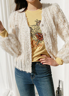 Brushed Lace Short Cardigan, Styleonme