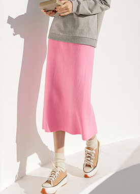 Colorful Midi Knit Skirt, Styleonme