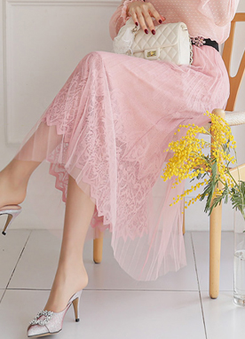 Lace Layered Pleated Skirt, Styleonme