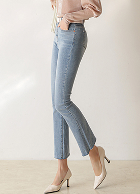 Mid rise Light Blue Bootcut Jeans, Styleonme