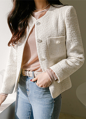 Spring Time Collarless Tweed Jacket, Styleonme