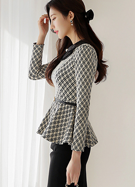 Lady Closet Lovely Collar Peplum Blouse, Styleonme